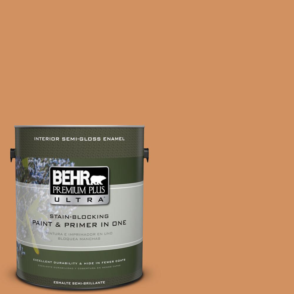 BEHR Premium Plus Ultra 1-gal. #BIC-15 Golden Poppy Semi-Gloss Enamel Interior Paint