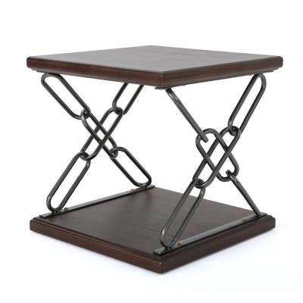 Tiomoid Industrial Dark Walnut Faux Wood Side Table with Black Chain-Style Metal Frame