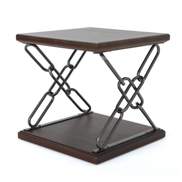 Noble House Tiomoid Industrial Dark Walnut Faux Wood Side Table with