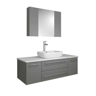 Lucera 48 in. W Wall Hung Vanity in Gray with Quartz Stone Vanity Top in White with White Basin and Medicine Cabinet