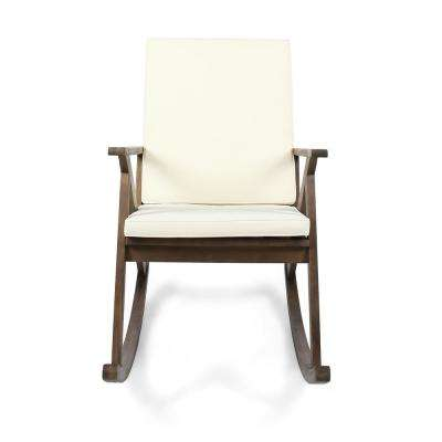 Gus Dark Brown Wood Outdoor Rocking Chair with Cream Cushion