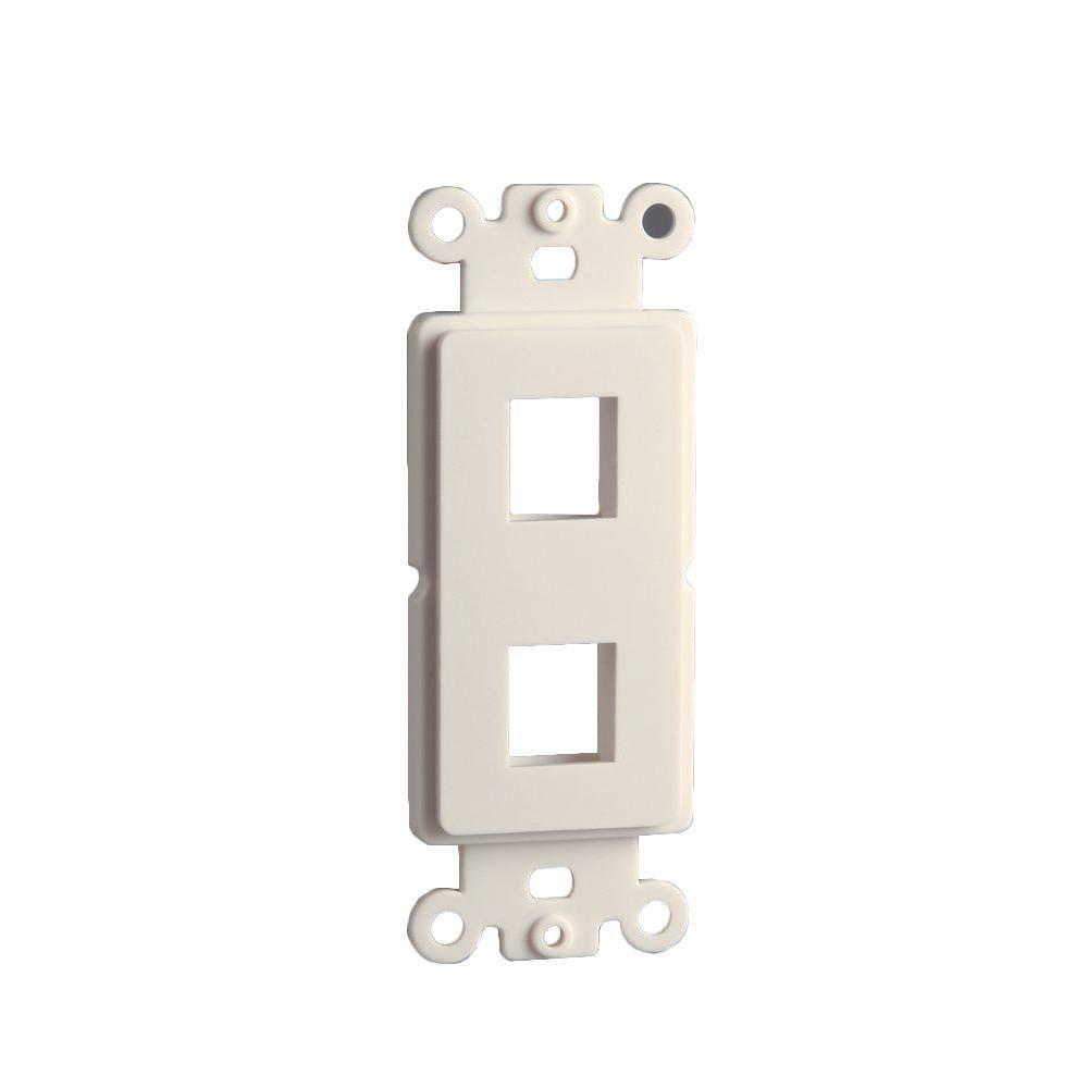 2-Port Decor Data Wall Plate Insert - Light Almond