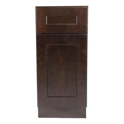Brookings Plywood Assembled Shaker 12x34.5x24 in. 1-Door 1-Drawer Base Kitchen Cabinet in Espresso
