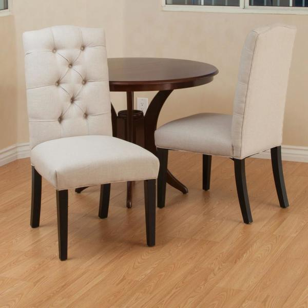 Noble House Berlin Natural Fabric Tufted Dining Chairs Set Of 2 1244 The Home Depot