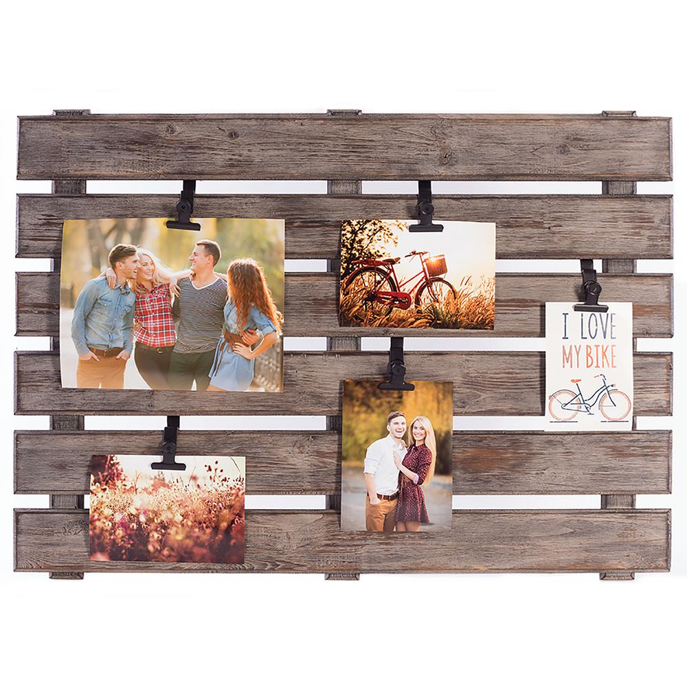 Wall frames wall decor the home depot 5 opening 4 in x 6 in pallet picture frame jeuxipadfo Images