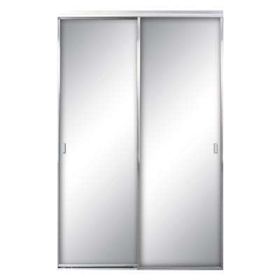 48 in. x 96 in. Asprey Bright Clear Mirror Aluminum Framed Interior Sliding Door