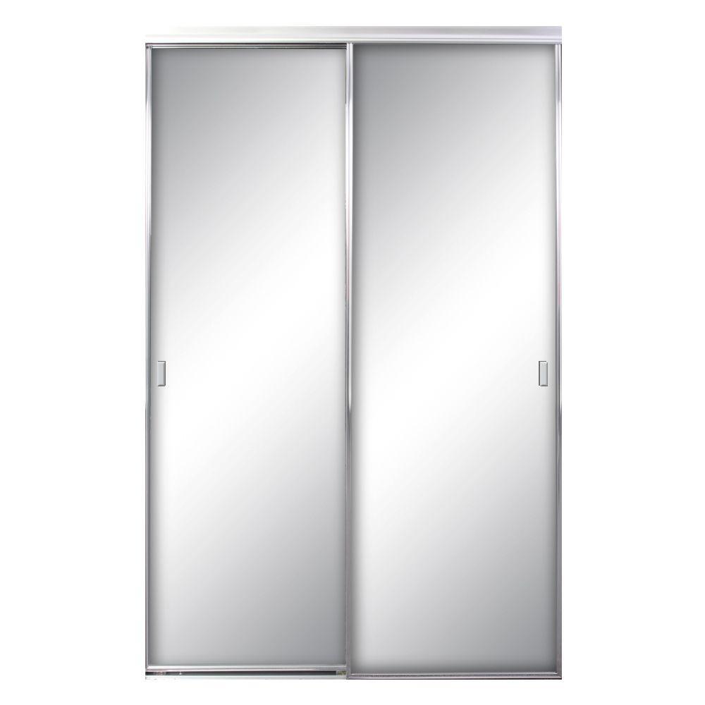 72 in. x 96 in. Asprey Bright Clear Mirror Aluminum Framed Interior Sliding Door