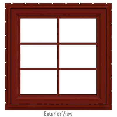 29.5 in. x 35.5 in. V-4500 Series Red Painted Vinyl Awning Window with Colonial Grids/Grilles