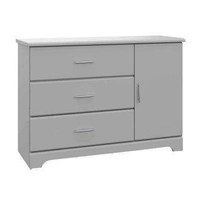 Brookside 3-Drawer Pebble Gray Combo Dresser