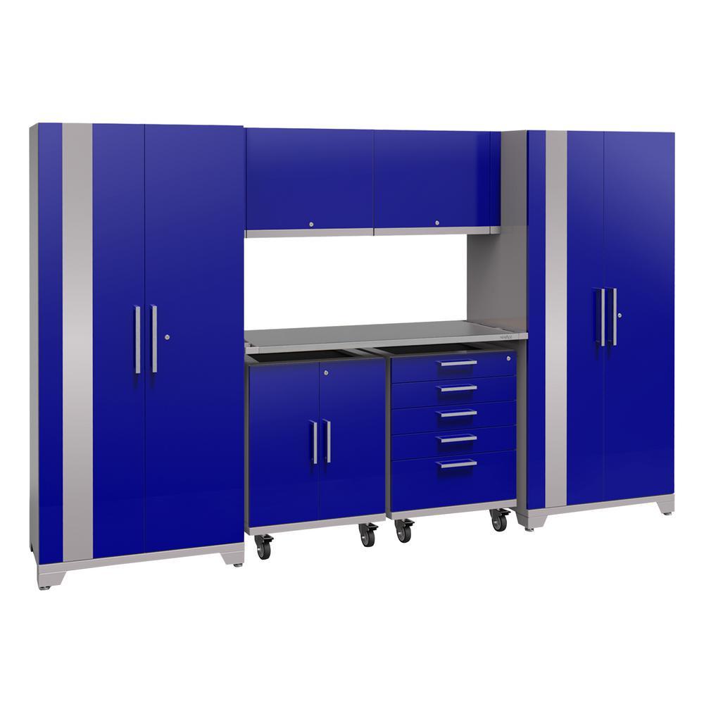 Performance Plus 2.0 80 in. H x 133 in. W x 24 in. D Steel Garage Cabinet Set in Blue (7-Piece)