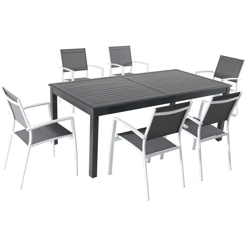 Hanover Dawson 7 Piece Aluminum Outdoor Dining Set With 6