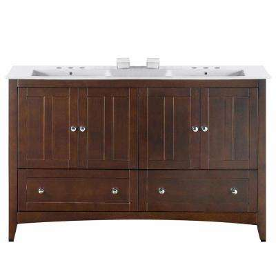 16-Gauge-Sinks 59 in. W x 18 in. D Vanity in Walnut with Ceramic Vanity Top in White with White Basin