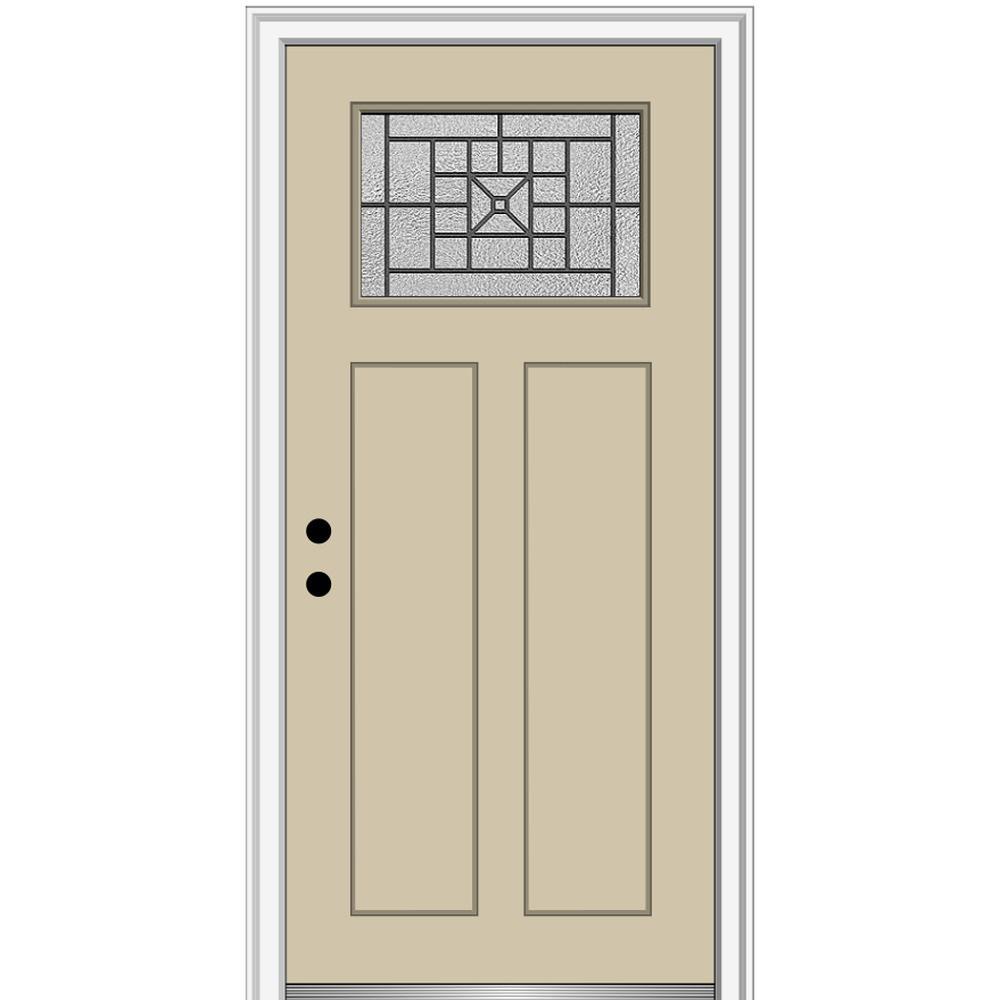 MMI Door 36 in. x 80 in. Courtyard Right-Hand 1-Lite Decorative Craftsman Painted Fiberglass Prehung Front Door, 4-9/16 in. Frame, Wicker/Brilliant was $1444.56 now $939.0 (35.0% off)
