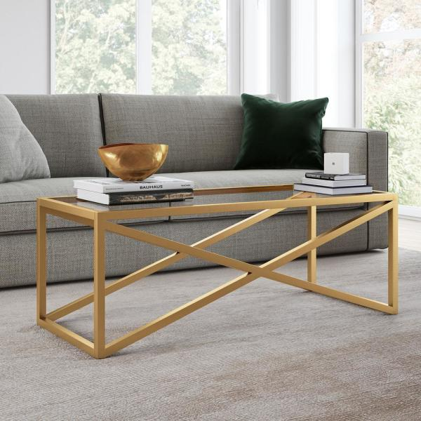 Meyer Cross Calix 46 In Brass Large Rectangle Tempered Glass Coffee Table Ct0245 The Home Depot