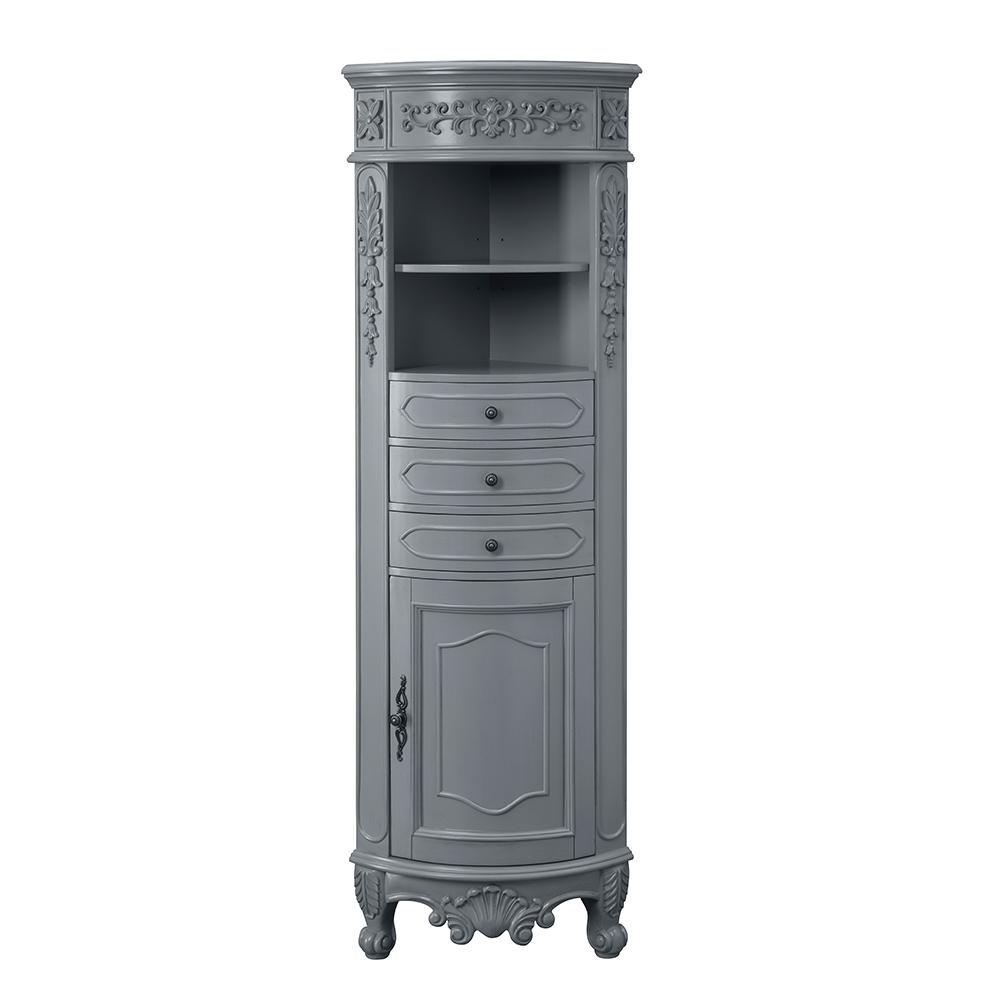 Home Decorators Collection Winslow 22 in. W x 14 in. D x 67.5 in. H Single Door Linen Cabinet in Antique Gray