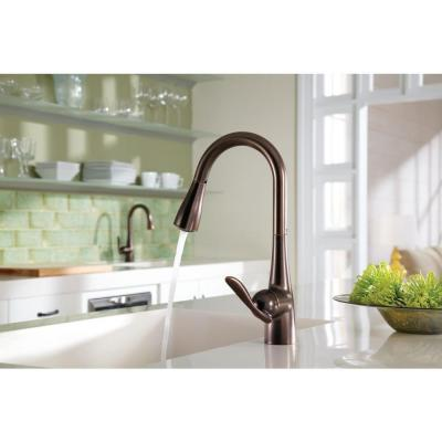 Arbor Single-Handle Pull-Down Sprayer Kitchen Faucet with Power Boost in Oil Rubbed Bronze