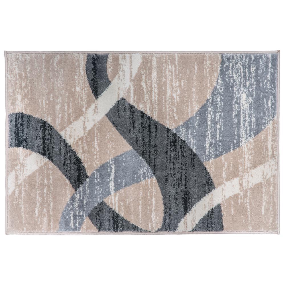 Blue Circles 2x3 Area Rug Lines Carpet