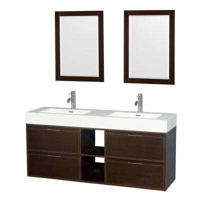 Daniella 60 in. W x 18 in. D Vanity in Espresso with Acrylic Vanity Top in White with White Basins and 24 in. Mirrors