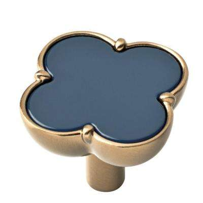 1-1/3 in. (34mm) Champagne Bronze and Navy Clover Cabinet Knob