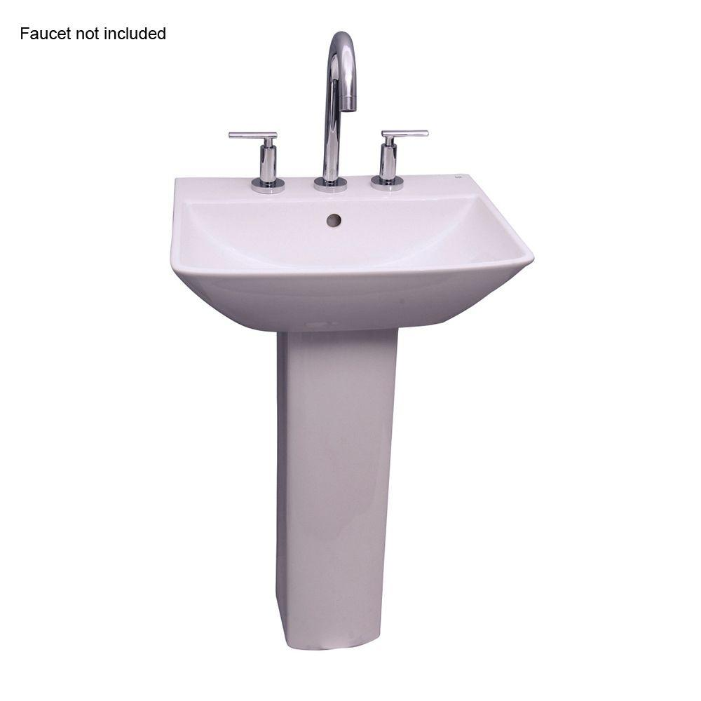 Barclay Products Summit 500 20 In. Pedestal Combo Bathroom Sink For 8 In.  Widespread In White 3 768WH   The Home Depot