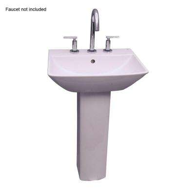 Summit 500 20 in. Pedestal Combo Bathroom Sink for 8 in. Widespread in White