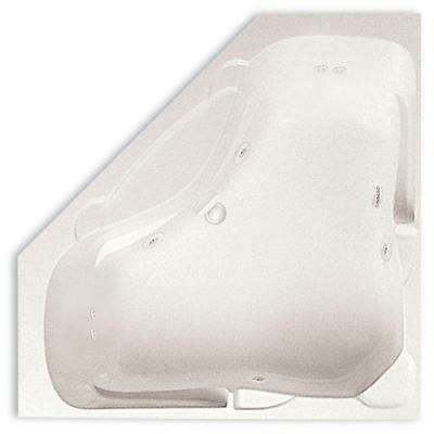 Preakness 60 in. Acrylic Center Drain Corner Drop-In Whirlpool Bathtub with Heater in Biscuit