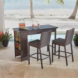 Hampton Bay Rehoboth 3-Piece Wicker Outdoor Bar Height Dining Set by Hampton Bay