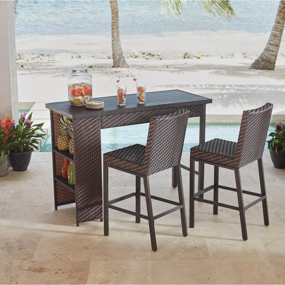 outdoor bar height table Hampton Bay Rehoboth 3 Piece Wicker Outdoor Bar Height Dining Set  outdoor bar height table