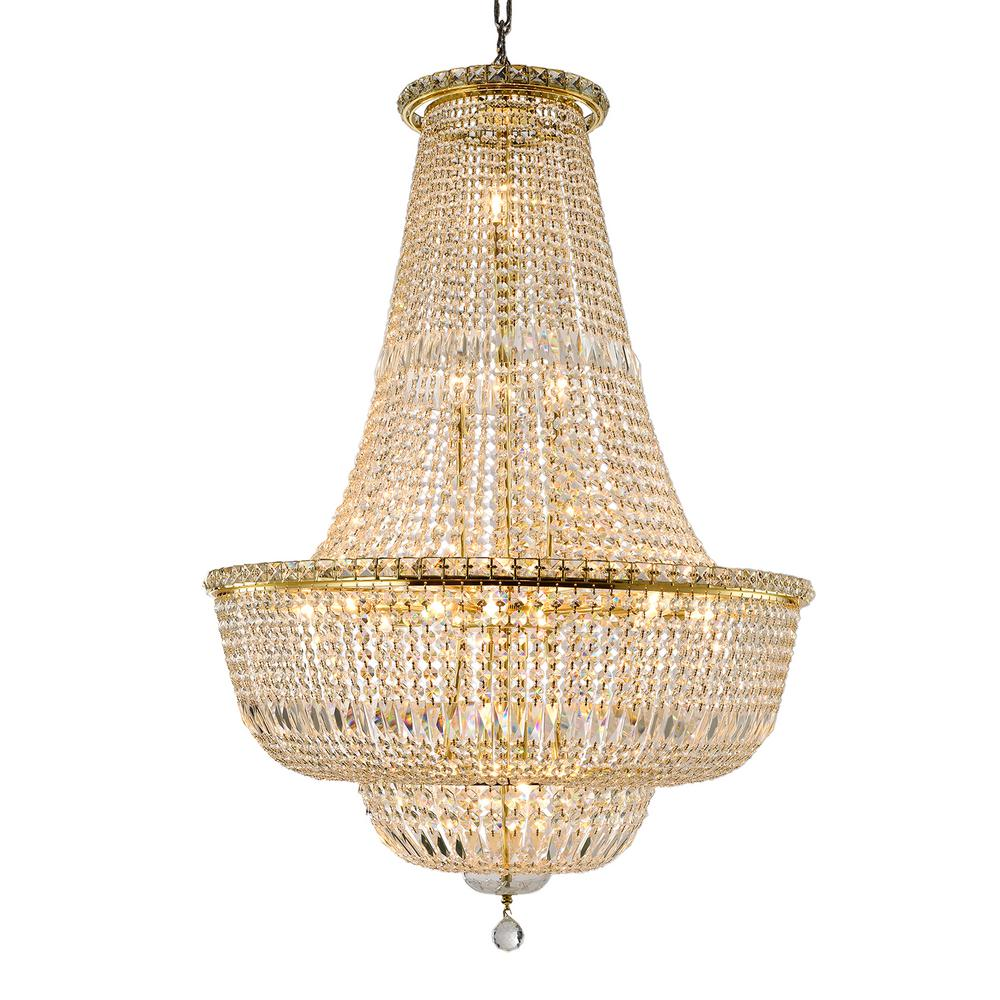 Worldwide Lighting Light Gold Crystal Chandelier