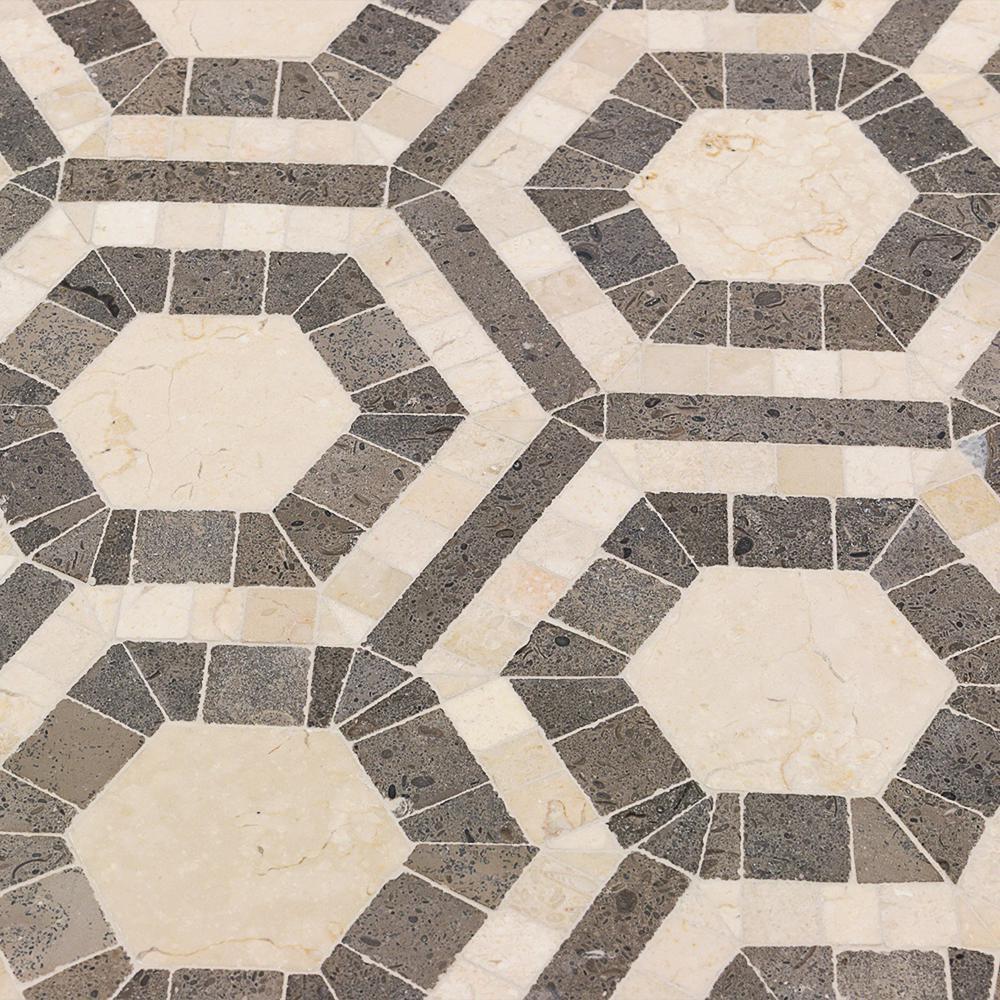 Splashback Tile Kosmos Beige and Lagos Azul Hexagon Marble Mosaic ...