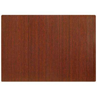 Standard Dark Brown Mahogany 48 in. x 72 in. Bamboo Roll-Up Office Chair Mat without Lip