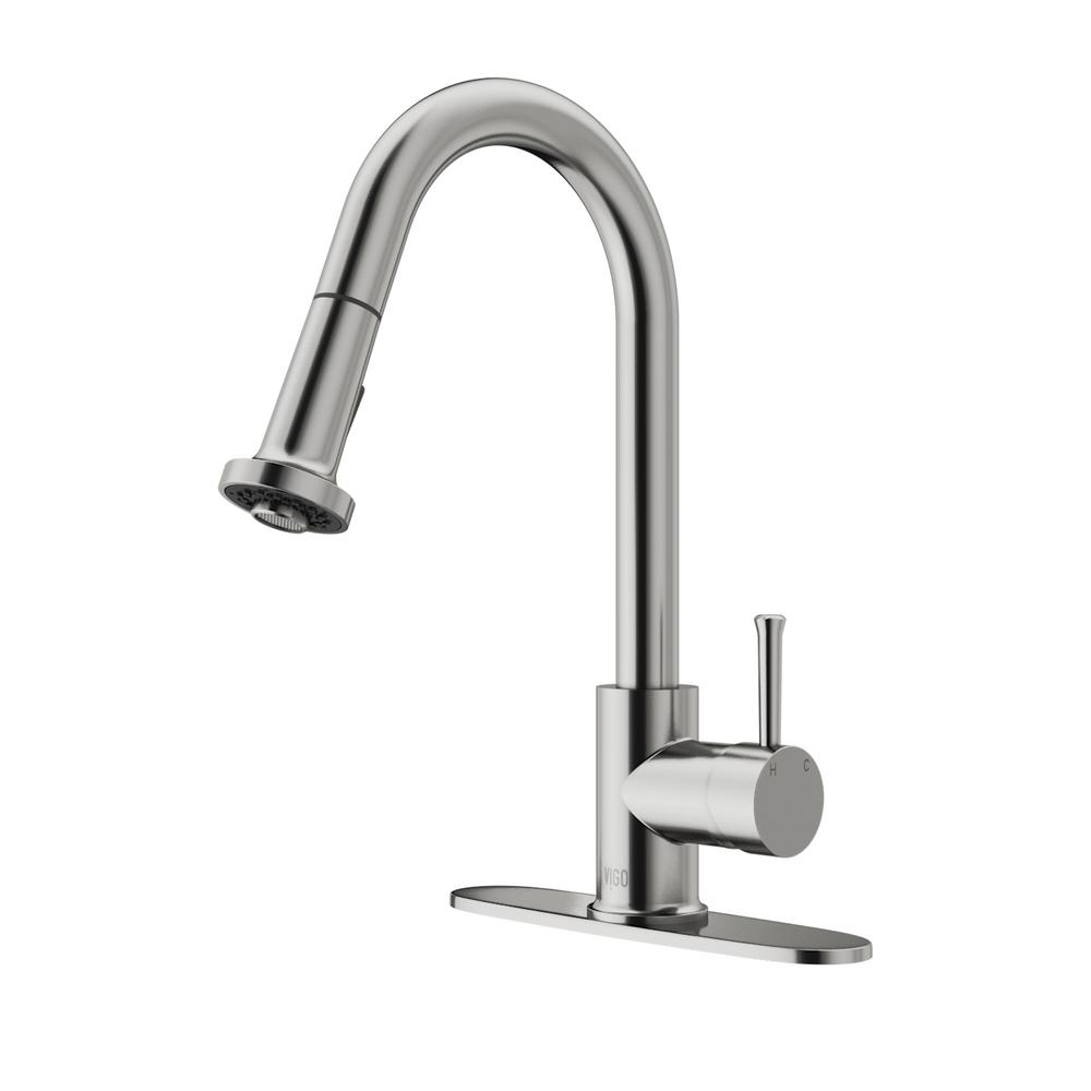 Vigo Dual Function Stainless Steel Pull Out Spray Kitchen Faucet
