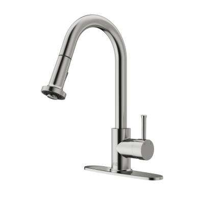 Single-Handle Pull-Out Sprayer Kitchen Faucet with Deck Plate in Stainless Steel
