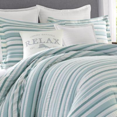 Clearwater Cay Blue Striped Seersucker Cotton Comforter Set