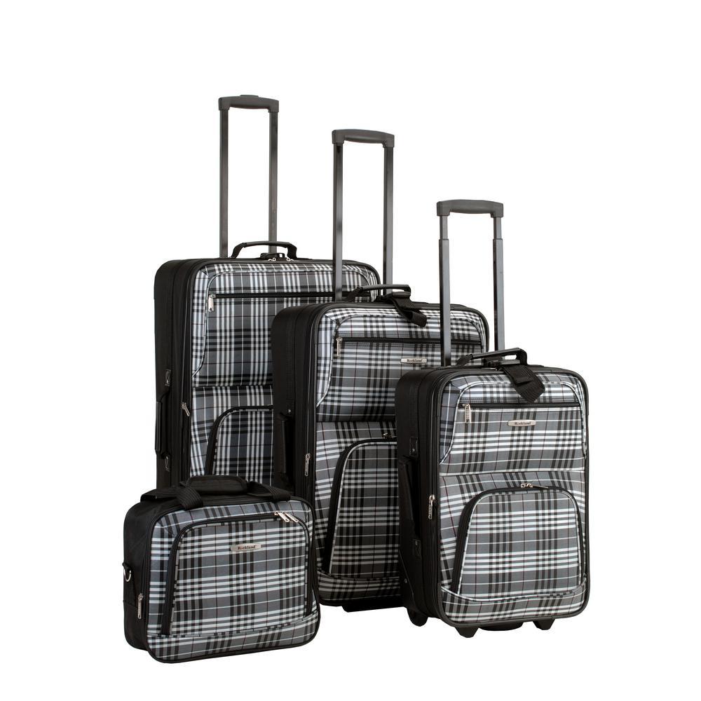 Rockland Beautiful Deluxe Expandable Luggage 4-Piece Softside Luggage Set, Blackcross