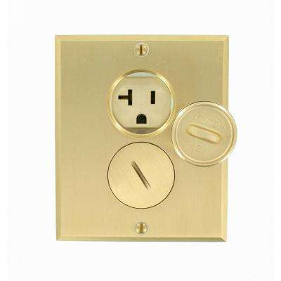 20 Amp Commercial Grade Self Grounding Duplex Outlet Floor Box, Ivory/Brass