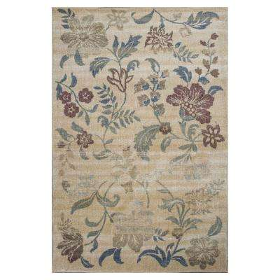 Escape in Flowers Sand 7 ft. 7 in. x 10 ft. 10 in. Area Rug