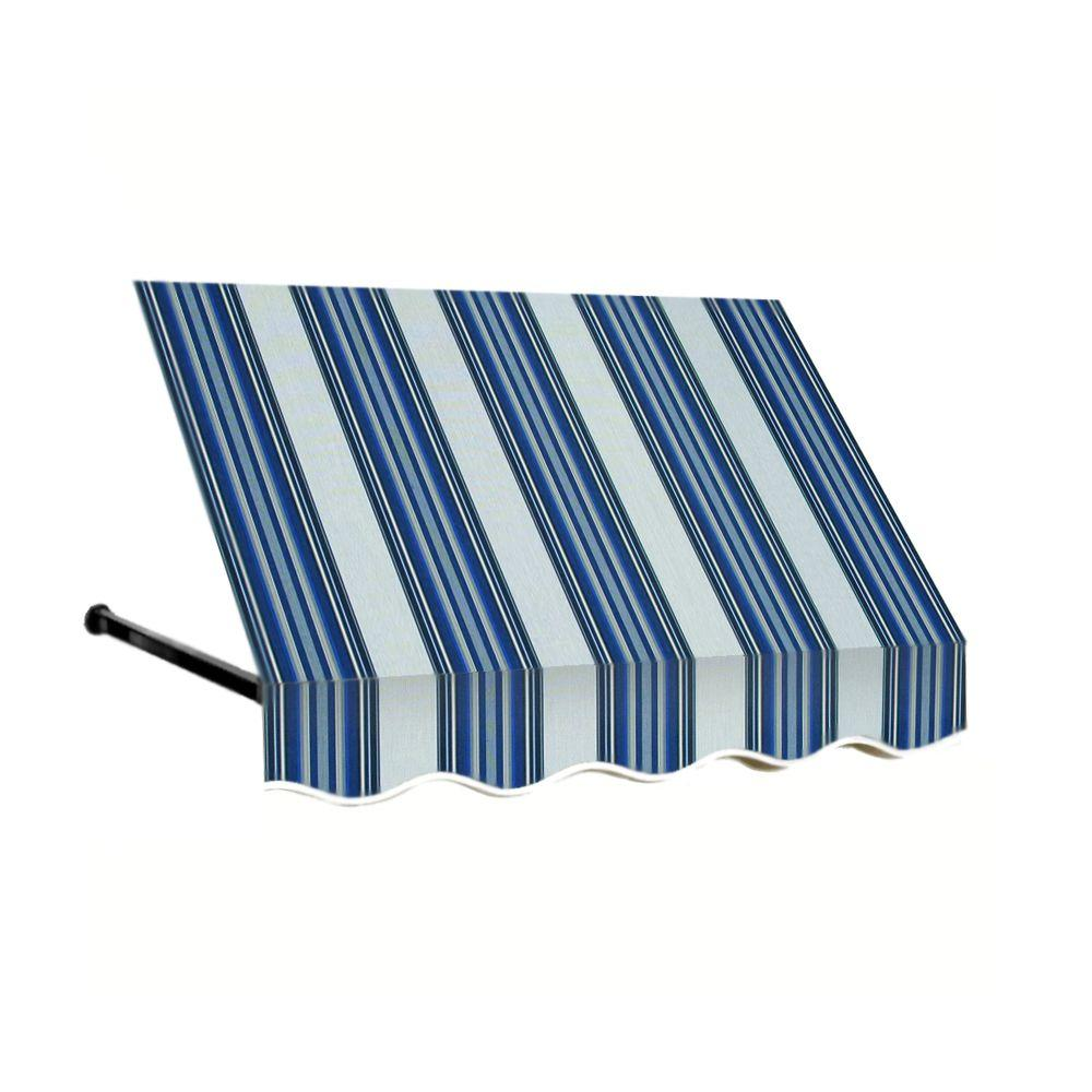 AWNTECH 12 ft. Dallas Retro Window/Entry Awning (56 in. H x 48 in. D) in Navy/Gray/White Stripe