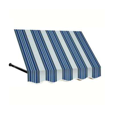 12 ft. Dallas Retro Window/Entry Awning (24 in. H x 42 in. D) in Navy/Gray/White Stripe