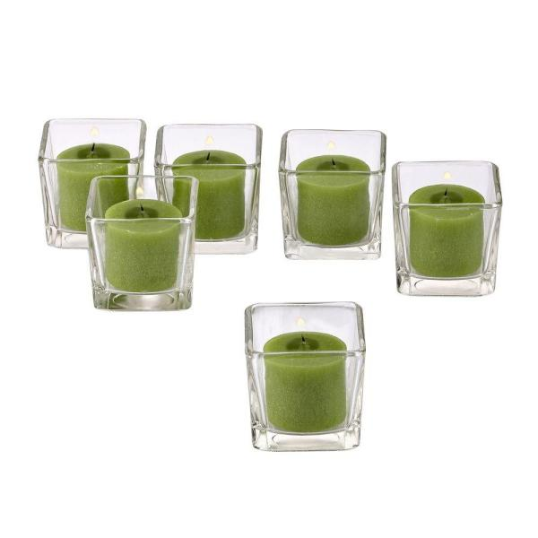 Clear Glass Square Votive Candle Holders with Lime Green Votive Candles (Set of 12)