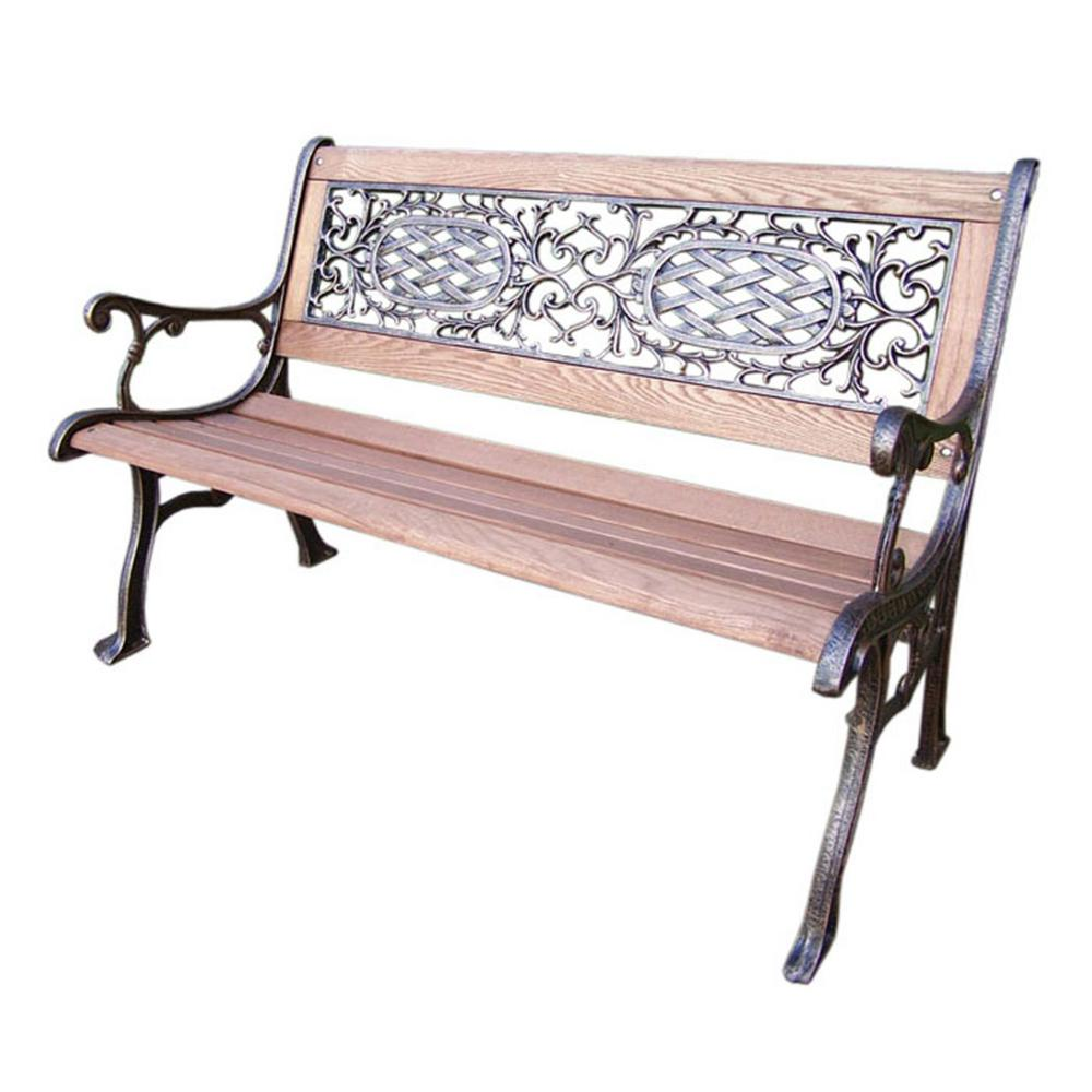 Mississippi Park Garden Bench with Cast Aluminum, Iron and Hard Wood