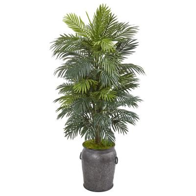 5 ft. Areca Palm Artificial Plant in Metal Planter