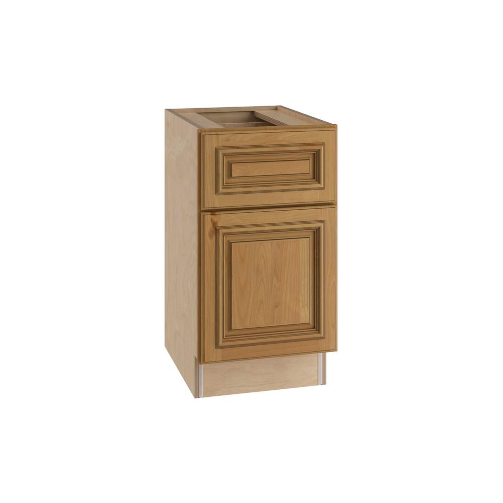 Home Decorators Collection Clevedon Assembled 15x28.5x21 in. Single Door & Drawer Hinge Left Base Desk Cabinet in Toffee Glaze