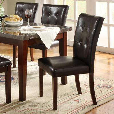 Watersford Dark Brown Faux Leather Tufted Dining Chair