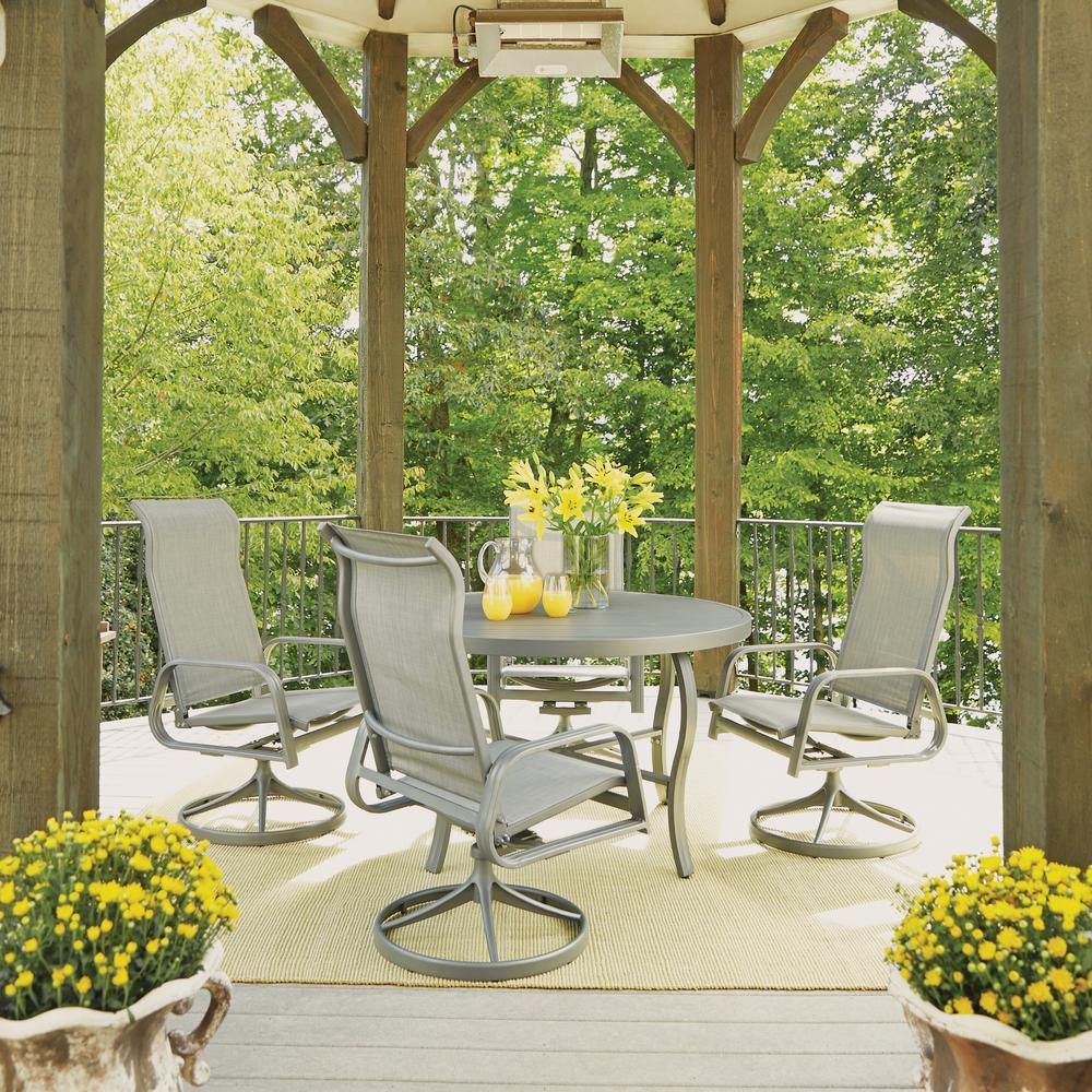 Garden Oasis Providence 5 Piece Swivel Dining Set: Home Styles Daytona Charcoal Gray 5-Piece Aluminum Round
