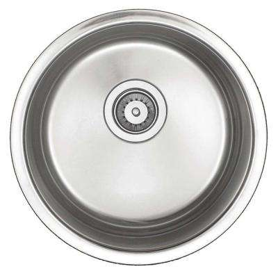 Undercounter Stainless-Steel 16 in. x 15-1/2 in. Single Bowl Round Entertainment Bar/Prep Sink