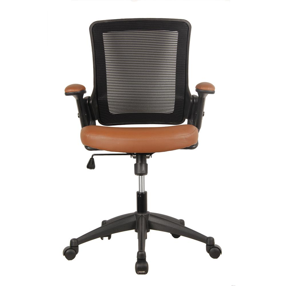 Techni Mobili Brown Mid Back Mesh Task Office Chair With Height Adjustable  Arms