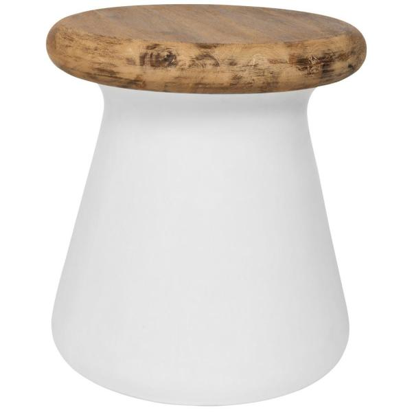Button Ivory Round Stone Indoor/Outdoor Accent Table
