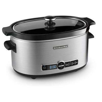 6 Qt. Programmable Stainless Steel Slow Cooker with Built-In Timer and Temperature Settings