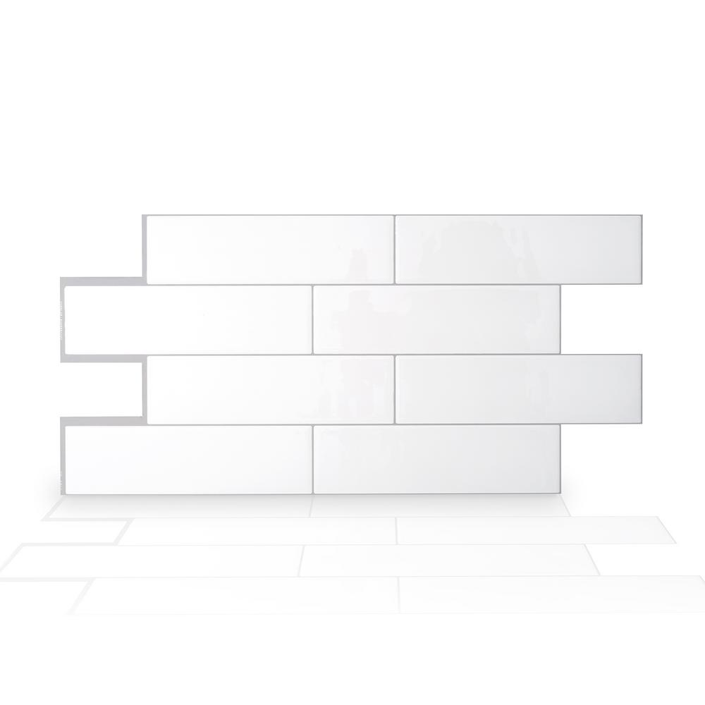 SmartTiles Smart Tiles Oslo 22.56 in. W x 10.88 in. H White Peel and Stick Self-Adhesive Decorative Mosaic Wall Tile Backsplash (2-Pack)